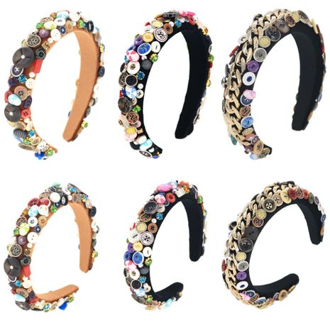 exaggerated sponge all hand-sewn buttons two-color alloy handmade headband wholesale nihaojewelry NHCO242979's discount tags