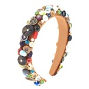 exaggerated sponge all handsewn buttons twocolor alloy handmade headband wholesale nihaojewelry NHCO242979