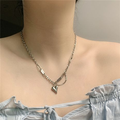 Korean titanium steel niche exquisite love pendant clavicle chain necklace for women NHYQ242983's discount tags