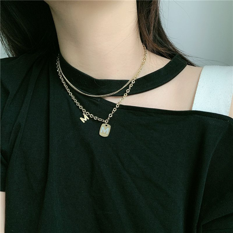 Korean titanium steel gold double layered wearing wild letter M pendant clavicle chain necklace for women NHYQ242984