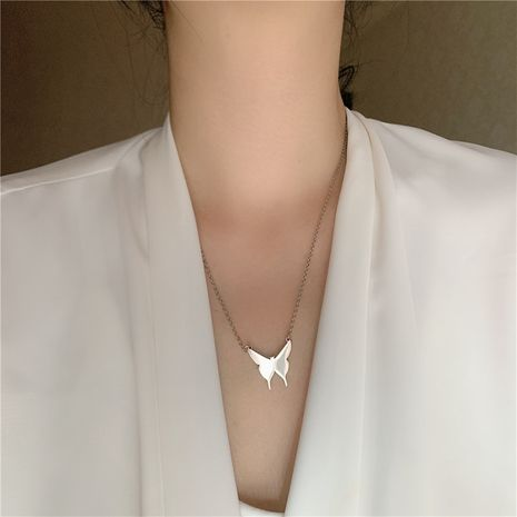 Korea's new titanium steel simple butterfly wild  long clavicle chain with bracelet set NHYQ242985's discount tags