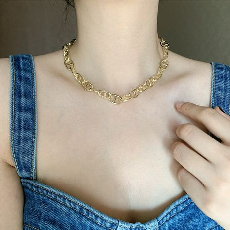 fashion thick chain pig nose shape brass gold plated short alloy clavicle chain bracelet NHYQ242987's discount tags