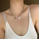 Baroque pearl flashing diamond cross simple alloy  necklace for women NHYQ242989