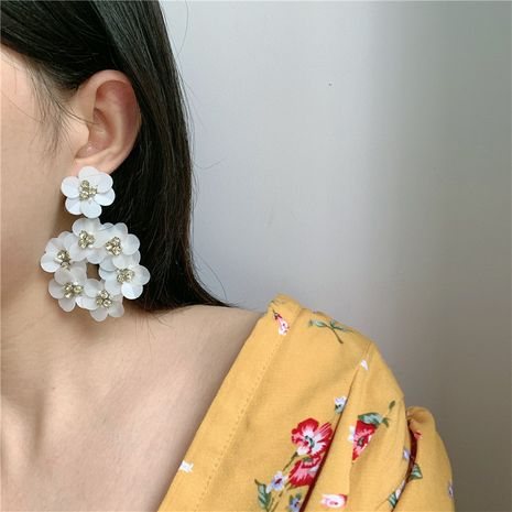 Korea new long white flower  wild alloy earrings for women NHYQ242990's discount tags
