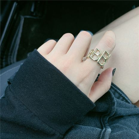 simple three-dimensional letter brass opening couple ring adjustable wholesale nihaojewerly NHYQ242993's discount tags