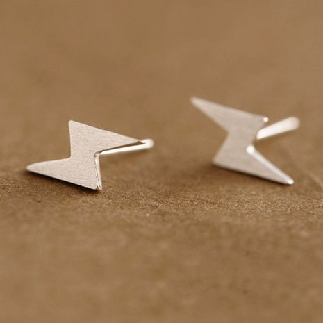 Fashion lightning-shaped environmentally friendly alloy plating letter ear studs wholesale NHMO243004's discount tags