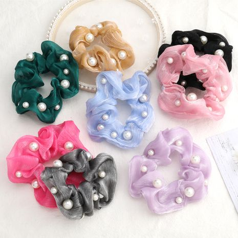 hot-selling horizontal striped organza fabric pearl hair tie high-stretch hair scrunchies wholesale nihaojewerly NHJE243007's discount tags