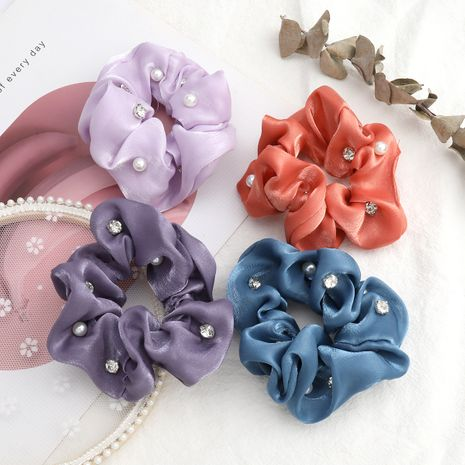 fashion new solid color gold silk cloth diamond inlaid pearl large intestine hair scrunchies wholesale nihaojewerly NHJE243009's discount tags