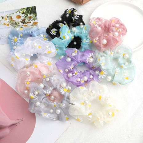 organza fabric small daisy print pearl large intestine ring hair scrunchies wholesale nihaojewerly NHJE243010's discount tags