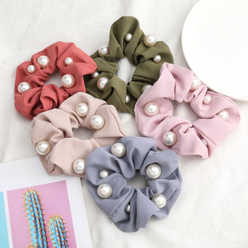 hot-selling fashion solid color fabric pearl large intestine ring hair scrunchies wholesale nihaojewerly NHJE243011