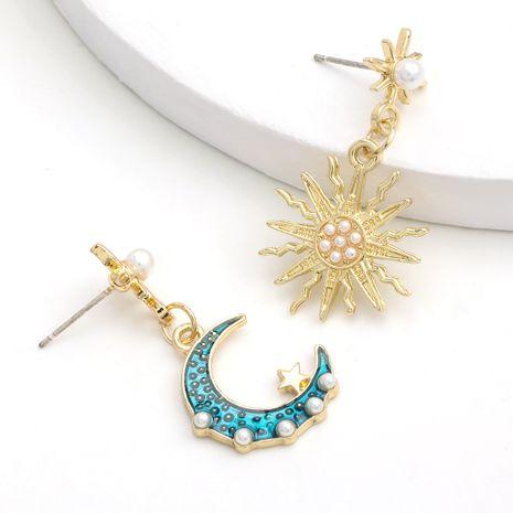 mode alliage goutte d'huile incrusté perle soleil lune boucle d'oreille asymétrique en gros nihaojewerly NHJE243012's discount tags