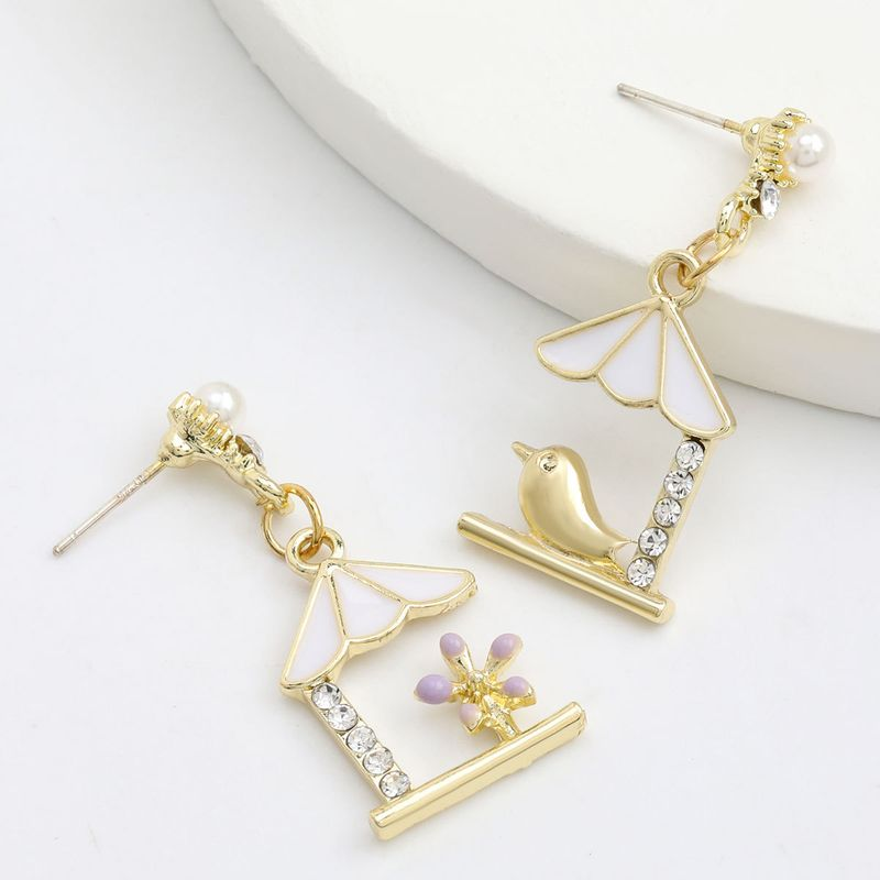 Fashion Korean alloy drip oil diamond flower and bird retro art fan earrings wholesale nihaojewerly NHJE243015