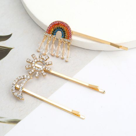 Fashion alloy diamond rhinestone rainbow moon word clip three-piece  wholesale nihaojewerly NHJE243020's discount tags
