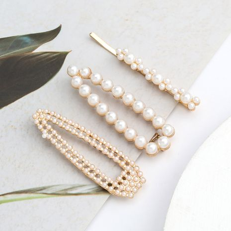 simple alloy inlaid pearl  top clip  three-piece  NHJE243021's discount tags
