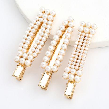 alliage géométrique perle épingle à cheveux clip bec de canard trois pièces épingle à cheveux en gros nihaojewerly NHJE243022's discount tags