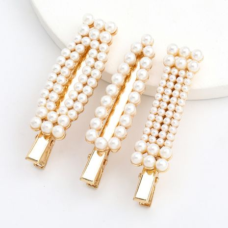 geometric alloy pearl hairpin duckbill clip three-piece hairpin wholesale nihaojewerly NHJE243022's discount tags