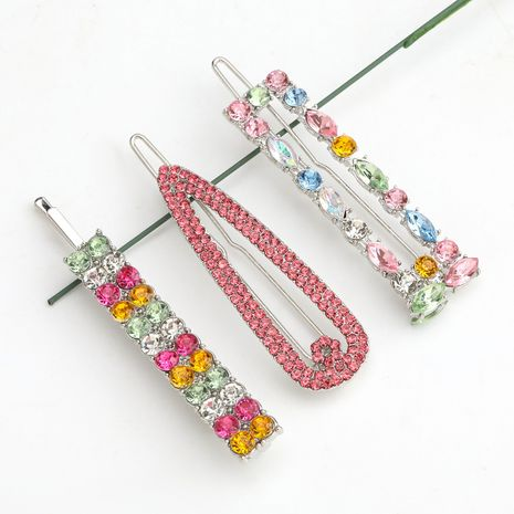 exaggerated alloy diamond-studded rhinestone color diamond  three-piece hairpin wholesale  NHJE243023's discount tags