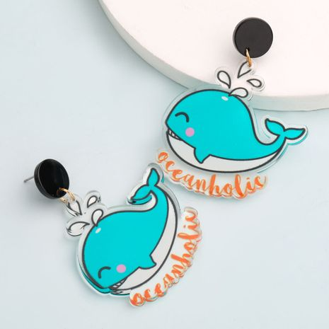 Korea simple resin rainbow fruit cartoon girl heart cute earrings wholesale nihaojewerly NHJE243024's discount tags
