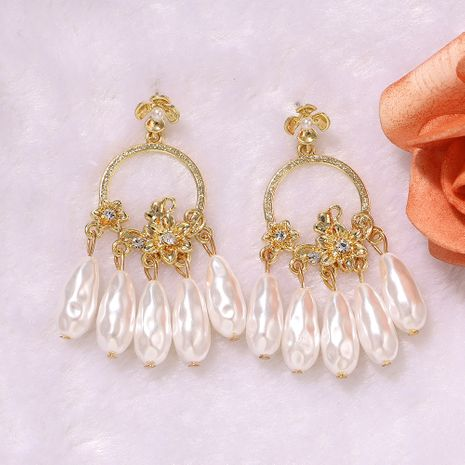 geometric circular hollow white pearl tassel flower inlaid exaggerated earrings wholesale nihaojewerly NHJQ243025's discount tags