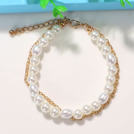 Pure white round pearl metal trendy girl Korean simple  fashion  chain multi-layer anklet NHJQ243027's discount tags