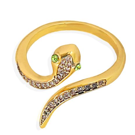 Silver transparent diamonds inlaid snake-shaped opening copper inlaid zirconium ring wholesale nihaojewerly NHJQ243028's discount tags