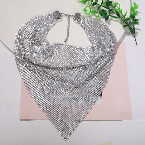 Silver white and black three-color sequined bib-style metal super flash trendy fashion necklace for women NHJQ243029's discount tags