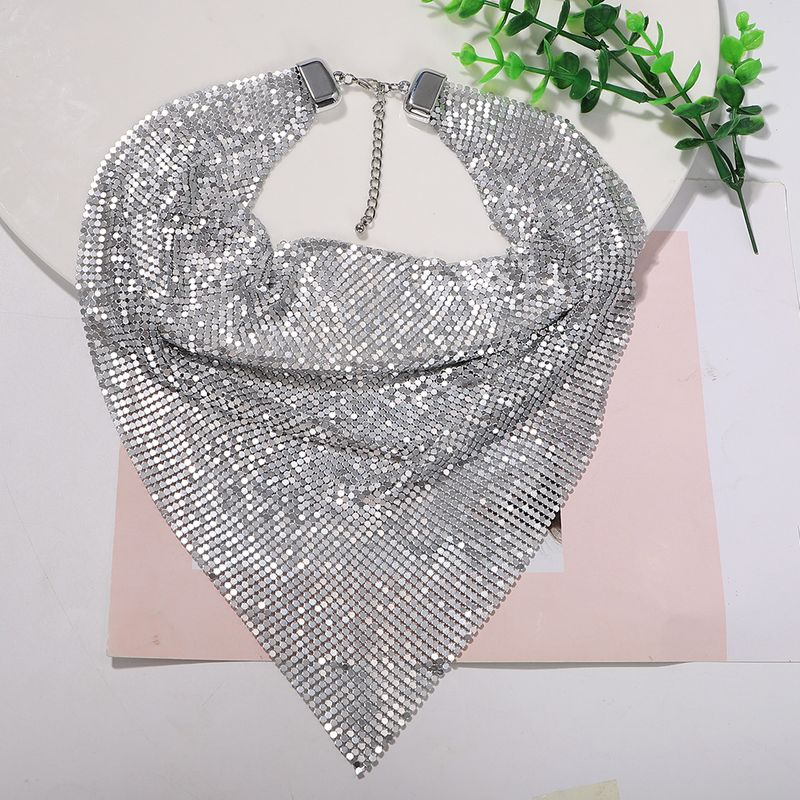 Silver white and black three-color sequined bib-style metal super flash trendy fashion necklace for women NHJQ243029