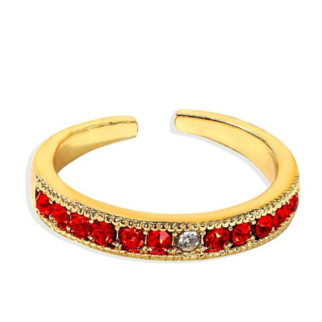 Red transparent rhinestone gemstone series open copper inlaid zirconium ring wholesale nihaojewerly NHJQ243032's discount tags