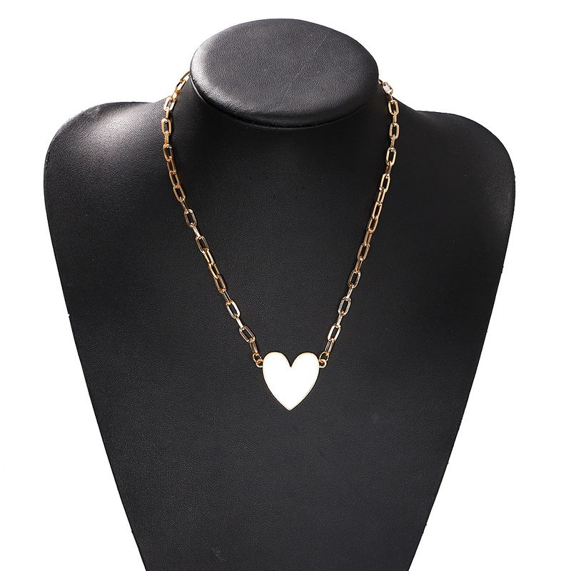 Gold-plated blue and white peach heart metal simple fashion trend alloy necklace for women NHJQ243035