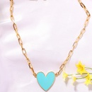 Goldplated blue and white peach heart metal simple fashion trend alloy necklace for women NHJQ243035