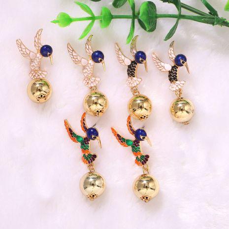 Colorful flying wings bowed long beak bird geometric spherical earrings wholesale nihaojewerly NHJQ243037's discount tags