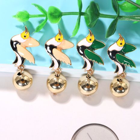 Color dripping oil head low-winged bird geometric spherical metal earrings wholesale nihaojewerly NHJQ243038's discount tags
