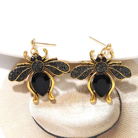 creative fashion cute colored gemstone inlaid bee metal earring wholesale nihaojewerly NHJQ243039's discount tags