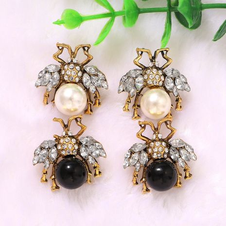 Transparent diamond wings black and white gems inlaid bee creative fashion earrings wholesale nihaojewerly NHJQ243040's discount tags