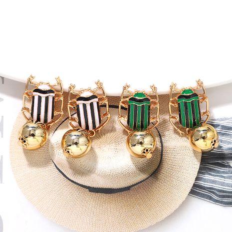 Geometric spherical color striped beetle metal creative fashion earrings wholesale nihaojewerly NHJQ243041's discount tags
