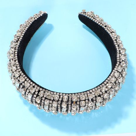 Silver transparent rhinestones inlaid stripes ethnic style creative fashion headband wholesale nihaojewelry NHJQ243042's discount tags