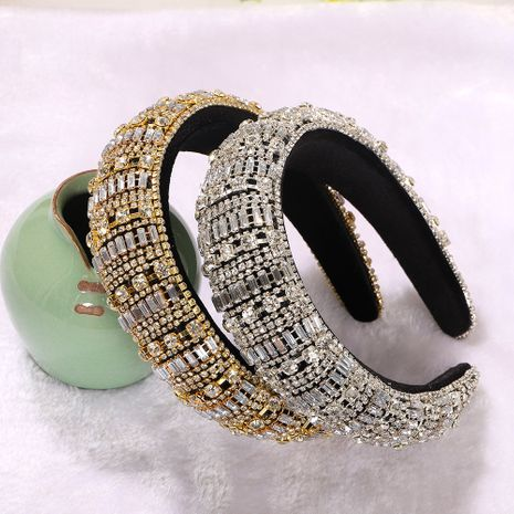 Gold and silver transparent rhinestones inlaid diamond stripe creative headband wholesale nihaojewelry NHJQ243043's discount tags