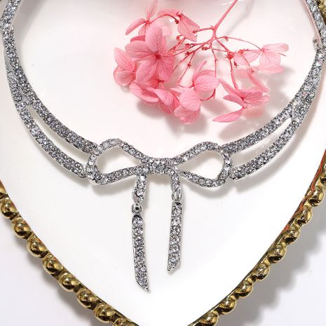 Silver transparent rhinestone butterfly-shaped simple alloy necklace for women NHJQ243046's discount tags