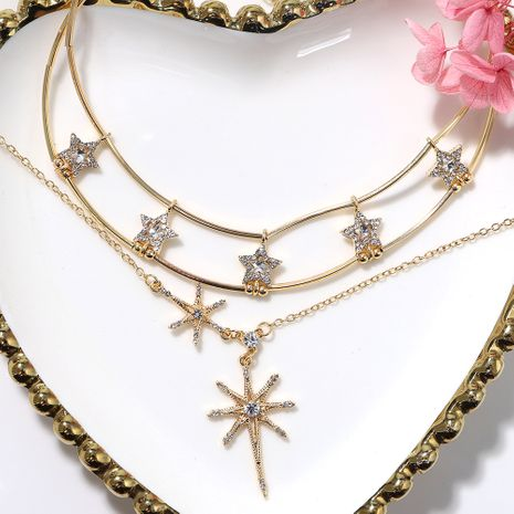 Star-shaped metal chain three-layer hollow metal fashionable wild necklace NHJQ243049's discount tags
