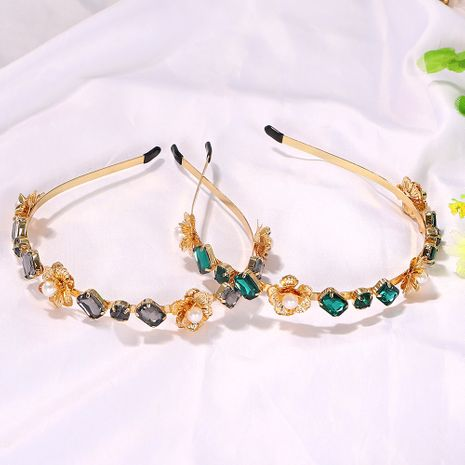 New geometric round baguette rose flower  headband wholesale nihaojewelry NHJQ243050's discount tags