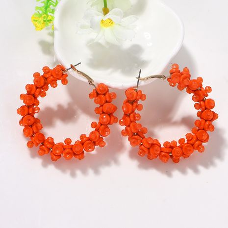 Geometric circular hollow color rice beads inlaid trendy earrings wholesale nihaojewerly NHJQ243051's discount tags