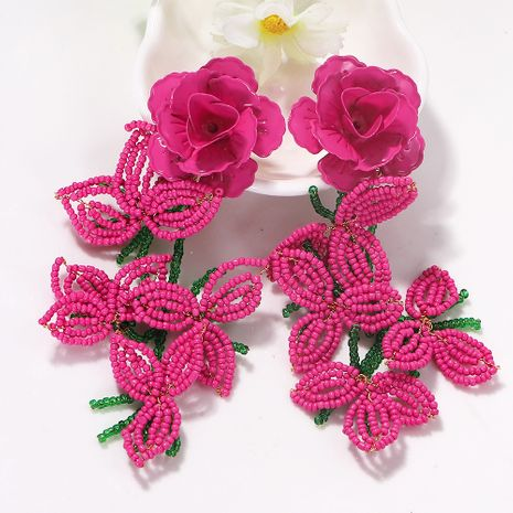 creative pink rose color rice bead petal exaggerated fashion earrings wholesale nihaojewerly NHJQ243052's discount tags
