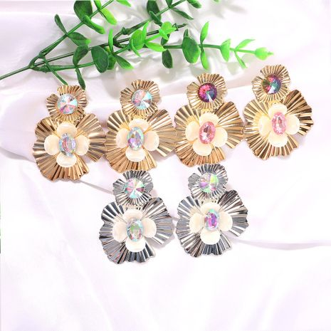 Silver metal petals inlaid pure white gemstones colored rhinestone earrings wholesale nihaojewerly NHJQ243054's discount tags