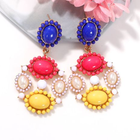 Colorful gemstone rice beads geometric round inlaid style creative fashion earrings wholesale nihaojewerly NHJQ243055's discount tags