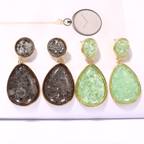 Drop-shaped round geometric colored gemstone inlaid simple  fashion earrings wholesale nihaojewerly NHJQ243056's discount tags