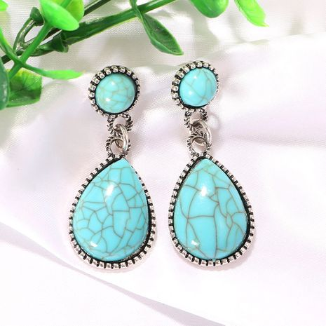 Geometric round drop-shaped cracked blue gem exaggerated creative earrings wholesale nihaojewerly NHJQ243058's discount tags