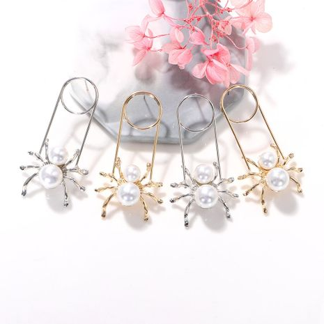 Pure white pearl geometric metal strip spider-shaped paper clip earrings wholesale nihaojewerly NHJQ243059's discount tags