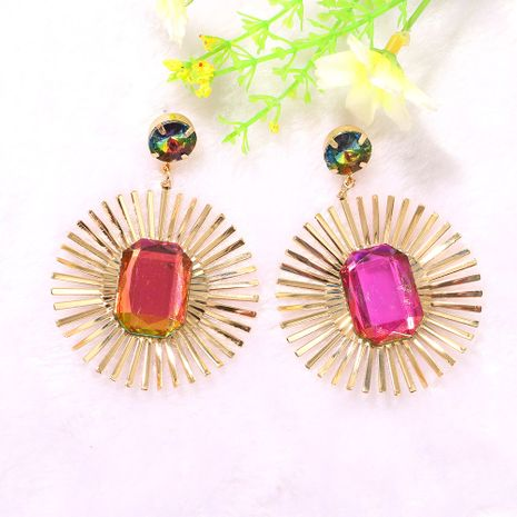 creative fashion exaggerated round metal strip inlaid colorful gemstone earring wholesale nihaojewerly NHJQ243060's discount tags