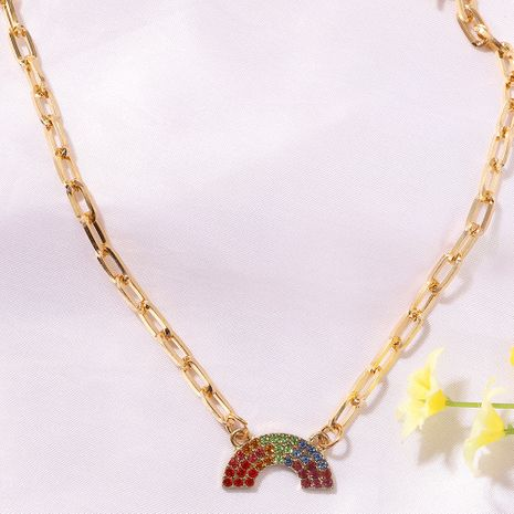 Rainbow diamond-studded U-shaped fashion girl versatile alloy clavicle chain  NHJQ243061's discount tags