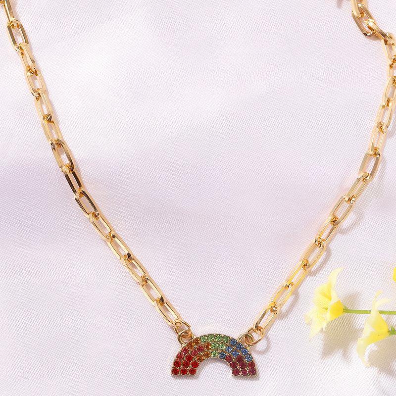 Rainbow diamond-studded U-shaped fashion girl versatile alloy clavicle chain  NHJQ243061